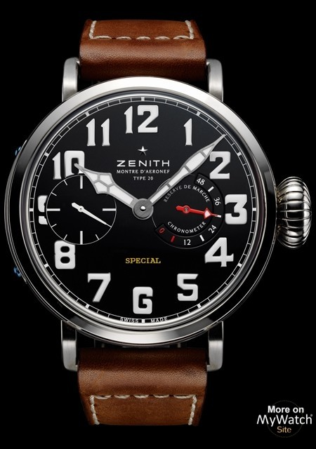 zenith pilot montre d 39 a ronef type 20 pilot titane bracelet cuir veau. Black Bedroom Furniture Sets. Home Design Ideas