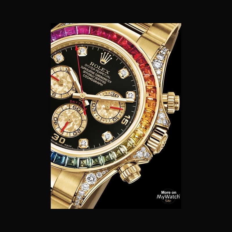 rolex cosmograph daytona rainbow oyster perpetual 116598 rbow 78608 or jaune diamants saphirs. Black Bedroom Furniture Sets. Home Design Ideas
