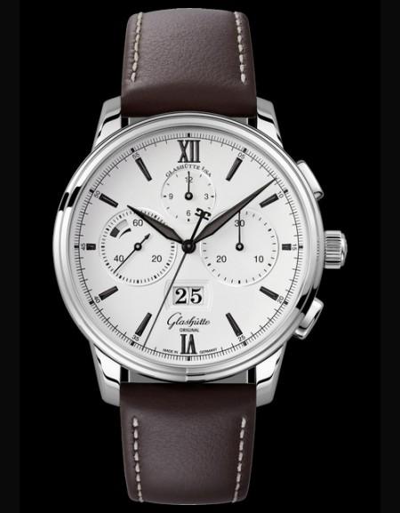 Senator Chronograph Panorama Date - bracelet cuir marron -