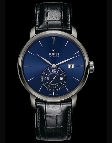 Rado Diamaster Petite Seconde cadran bleu bracelet noir (montre unisexe)