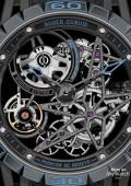 Excalibur Spider Pirelli - Squelette automatique - titane noir et caoutchouc bleu –