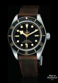 BLACK BAY FIFTY EIGHT cadran noir strap cuir marron foncé