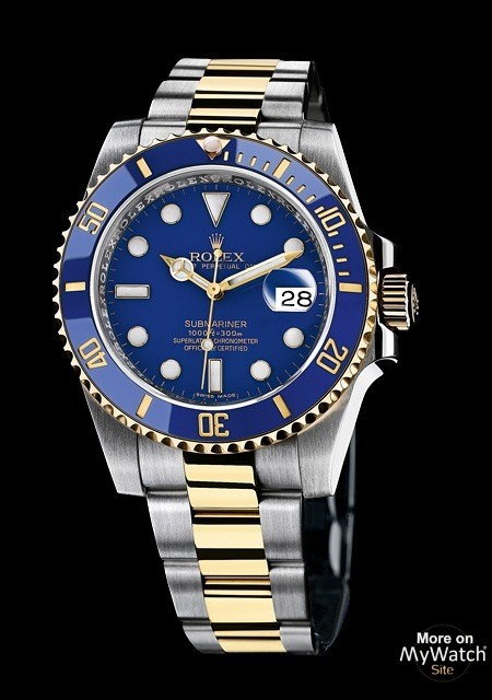 rolex submariner date rolesor oyster perpetual 116613 lb 97203 rolesor jaune cadran bleu. Black Bedroom Furniture Sets. Home Design Ideas