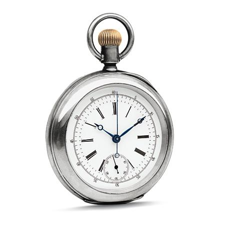 Chronographe de poche, dont le dos de la boîte est gravé d'un jockey et sa monture.