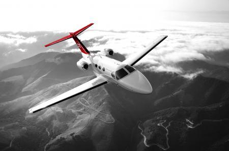 Le Cessna Citation Mustang à bord duquel le groupe de journalistes et de clients VIP ont survolé les Alpes.