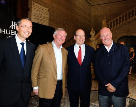 Robert Calcagno (CEO de l'Institut Océanographique de Monaco), Sir Alex Ferguson (Entraîneur de Manchester United), S.A.S Le Prince Albert II de Monaco et Jean-Claude Biver ©Cyrille Margarit - Artman Agency