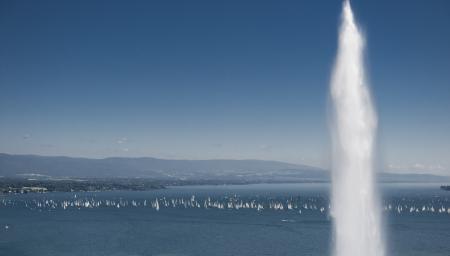 Le Lac Léman : le superbe cadre du Bol d'Or Mirabaud dont Corum est l'un des principaux sponsors. © Von Siebenthal