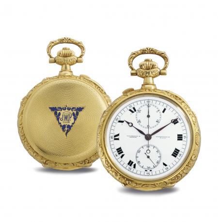 Joyau de la haute horlogerie, cette montre de poche signée Vacheron Constantin cumule les complications : fonction chronographe, répétition à heures, minutes, quarts et demi-quarts, avec petite et grande sonnerie.