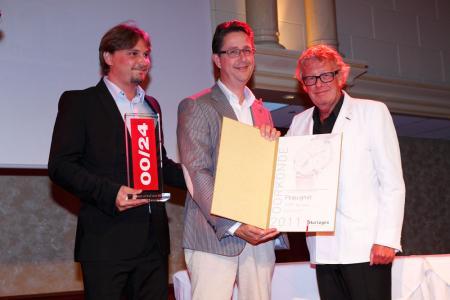 Pierre Leibundgut, Directeur Général de Péquignet, et Raymond de Greef, représentant de la marque aux Pays Bas avec Jan des Bouvrie.