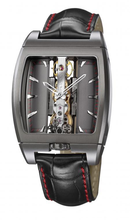 La Golden Bridge Automatic Only Watch présente aussi un cadran de couleur anthracite et une minuterie rouge.
