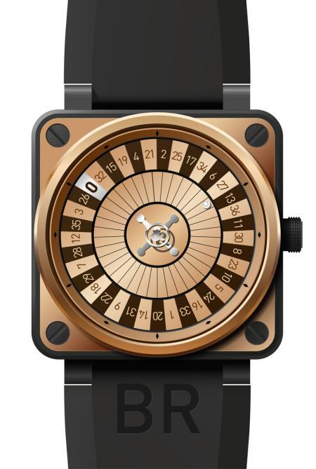 La BR01 CASINO Pink Gold Only Watch : boîtier en or rose et acier finition PVD noir, mouvement automatique, affichage de l'indication horaire par disques concentriques, étanche jusqu'à 100 mètres.