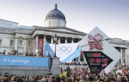 Le Countdown OMEGA à Trafalgar Square le 27 juillet à 19h30, heure de Londres.