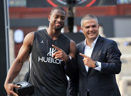Dwyane Wade - mégastar du basket Champion All-Star NBA, médaillé d'or Olympique, et nouvel ambassadeur Hublot - avec Ricardo Guadalupe, Directeur général de Hublot.