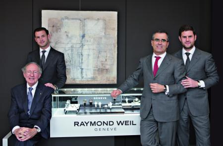 Raymond Weil : une histoire de famille… Raymond Weil, son beau-fils Olivier Bernheim et ses fils Elie et Pierre.