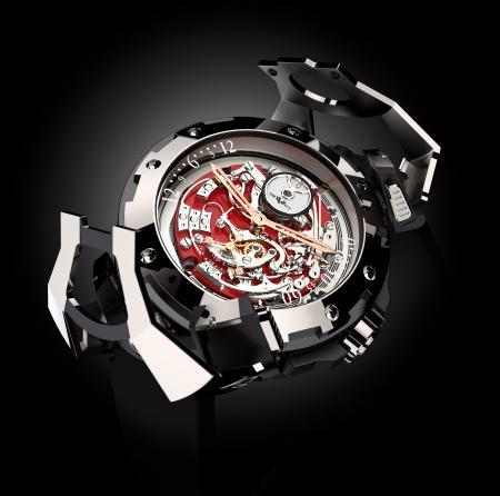 La X-Watch de DeWitt pour Only Watch 2011 : une concept watch dotée d'un mouvement réversible - ici côté chronographe - et d'un capot articulé.