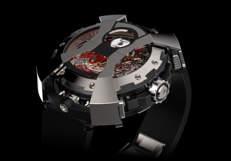 La X-Watch de DeWitt - ici côté chronographe - avec le capot articulé en forme de X en position fermée.