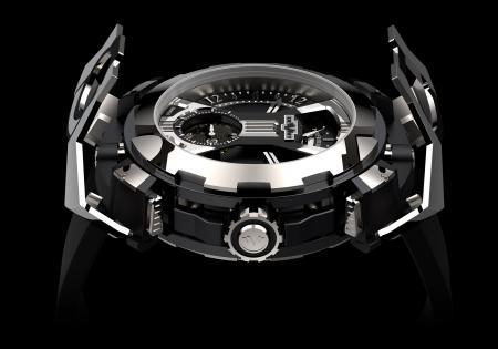 La X-Watch de DeWitt - ici côté tourbillon - avec le capot articulé en forme de X en position ouverte.