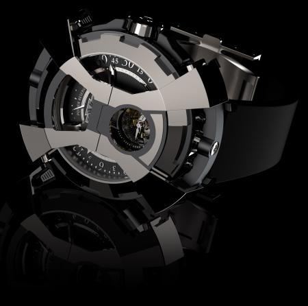 La X-Watch de DeWitt - ici côté tourbillon - avec le capot articulé en forme de X en position fermée.