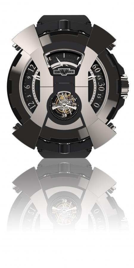 La X-Watch de DeWitt vue de face - ici côté tourbillon - avec le capot articulé en forme de X en position fermée.