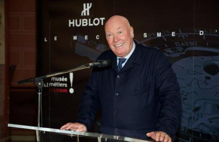 M. Jean-Claude Biver, CEO de Hublot, fier de présenter le 10 octobre dernier aux Musée des Art et Métiers à Paris le Calibre Hublot Anticythère 2033-CH01.