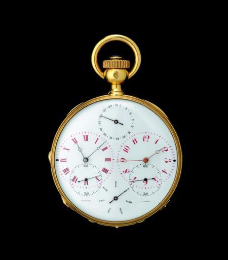 Parmi la cinquantaine de pièces exposées A La Vieille Russie, cette Montre de poche double fuseaux horaires de 1870.© 2011 Musée d'Horlogerie du Locle Château des Monts