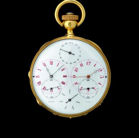 Montre de poche double fuseaux horaires de 1870.© 2011 Musée d'Horlogerie du Locle Château des Monts
