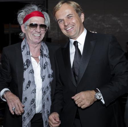 Keith Richards et Jean-Frédéric Dufour, PDG de Zenith.