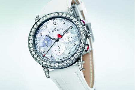 Blancpain Chronographe Saint-Valentin 2012 : une série limitée à 14 exemplaires en or blanc serti de diamants.