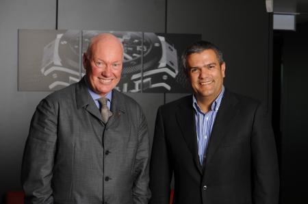 M. Jean-Claude Biver, CEO de Hublot, avec M. Ricardo Guadalupe, le nouveau Directeur Général de la Maison. ©Raphael Faux