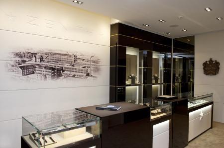 Boutique Zenith à Genève : vue intérieure.