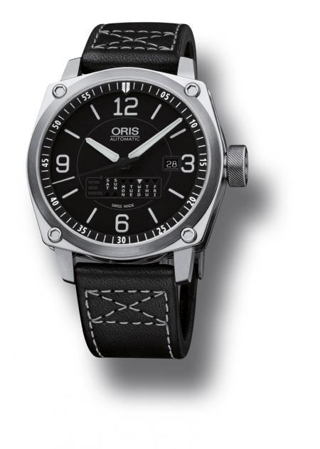 L'Oris BC4 Retrograde Day sur bracelet en cuir gaucho noir.