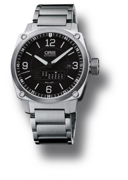 L'Oris BC4 Retrograde Day sur bracelet en acier.