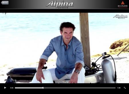 Le comédien américain William Baldwin, nouvel ambassadeur et visage de la campagne publicitaire 2012 d'Alpina portant la nouvelle Extrême Diver.