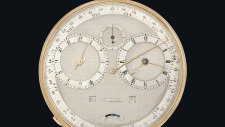 Gros plan sur la Breguet n°4111 : une montre Grande Complication de 1827 (équation du temps, répétition, calendrier annuel et calendrier manuel perpétuel).