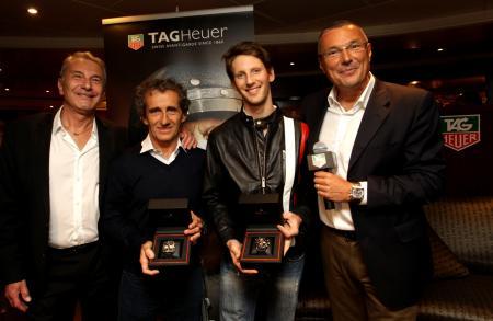 Michel Ferry (Commissaire Général de l'ACM et Directeur de course du Grand Prix de Monaco), Alain Prost, Romain Grosjean (nouvel ambassadeur TAG Heuer) et Jean-Christophe Babin (Directeur Général de TAG Heuer).