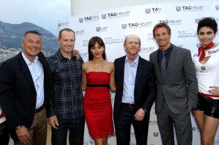 Jean-Christophe Babin, Jimmy Spithill, Jessica Michibata, Ron Howard et Jenson Button.