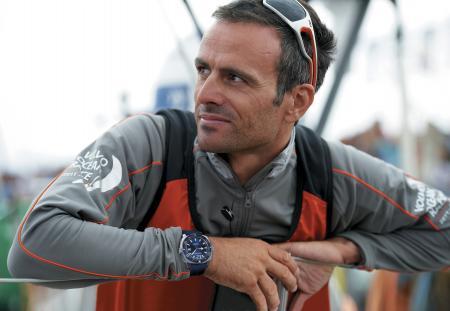 Franck Cammas avec au poignet l'Aquascope de JeanRichard. ©Yvan Zedda