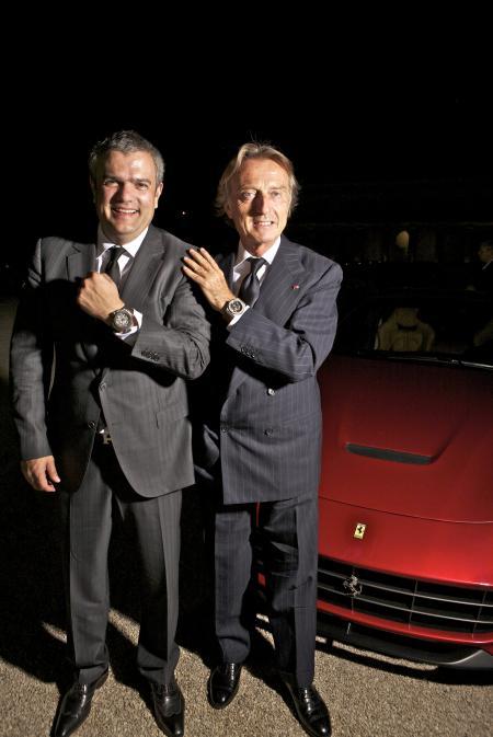 M. Ricardo Guadalupe, Directeur Général de Hublot, et M. Luca Cordero di Montezemolo, President de Ferrari S.p.A.