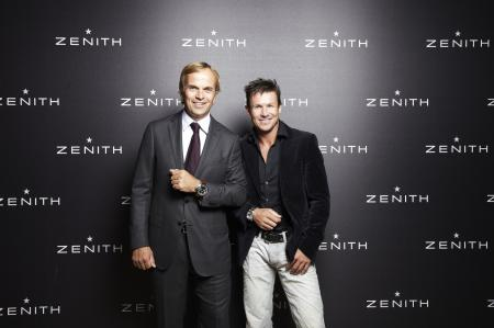 Jean-Frédéric Dufour, Président et CEO de Zenith, avec Félix Baumgartner, ambassadeur de la Maison.