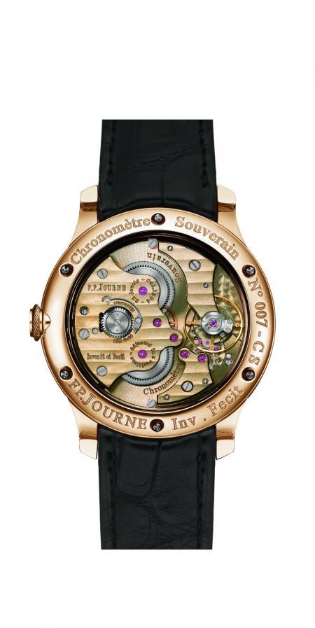 Le Chronomètre Souverain F.P Journe côté fond.