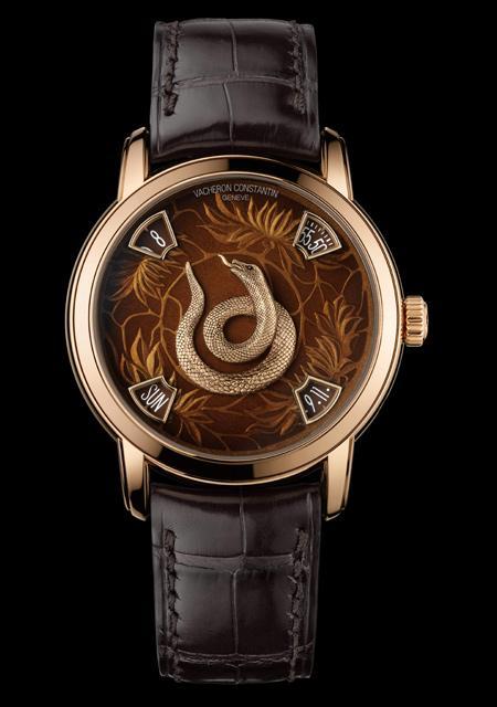 La Légende du Zodiac Chinois - Année du Serpent - Or Rose - Cadran Email Grand Feu - Bracelet Alligator