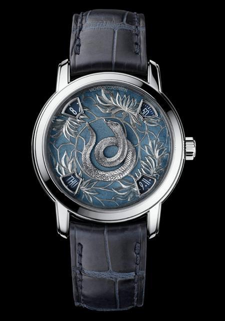 La Légende du Zodiac Chinois - Année du Serpent - Platine - Cadran Email Grand Feu - Bracelet Alligator