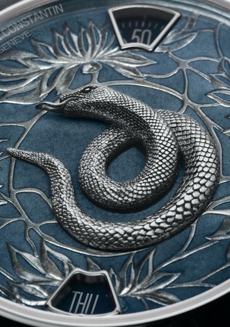 La Légende du Zodiac Chinois - Année du Serpent - Platine - Détails du Cadran Email Grand Feu