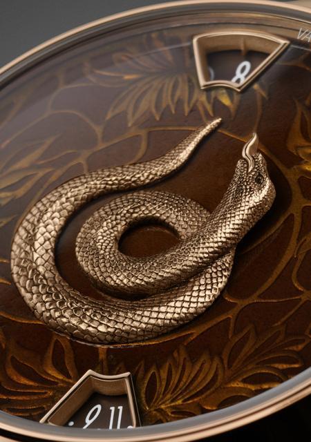 La Légende du Zodiac Chinois - Année du Serpent - Or Rose - Détails du Cadran Email Grand Feu