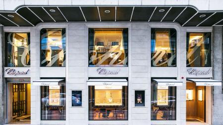 La façade de la boutique Chopard de la Rue du Rhône à Genève.