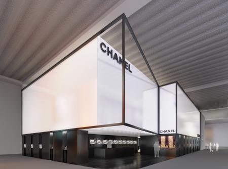 Le stand de Chanel à Bâle : un espace qui sublime les codes couleur de la Maison.