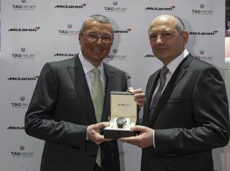 Jean-Christophe Babin, Président et CEO de TAG Heuer, et Ron Dennis, Président exécutif du groupe McLaren.