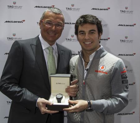 Jean-Christophe Babin et le pilote mexicain Sergio Perez, nouvel ambassadeur TAG Heuer.