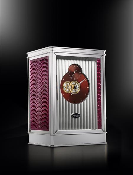 La pendulette 15 jours Lalique - Parmigiani Fleurier, en rose.