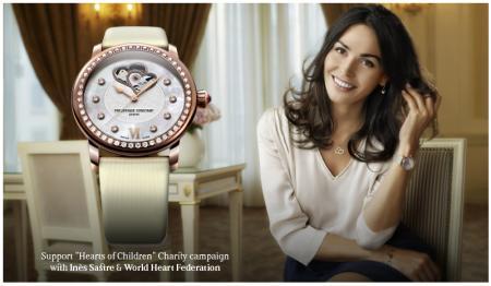Inès Sastre, ambassadrice de l'oeuvre caritative de Frédérique Constant, et l'une des montres de la collection dédiée à la Fédération mondiale du Coeur.